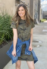 Camo T Shirt Dress with Chest Pocket