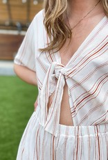 Gauze Striped Romper with Cut Out