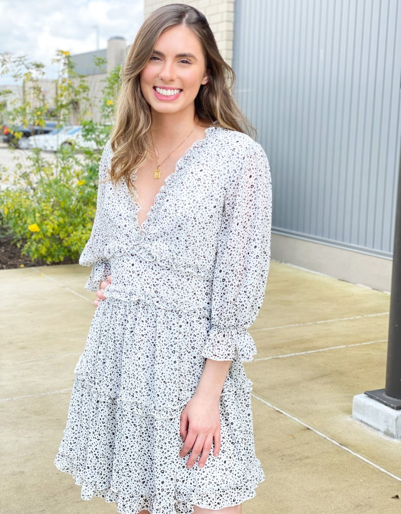 Long Sleeve Tiered Dress with Spots