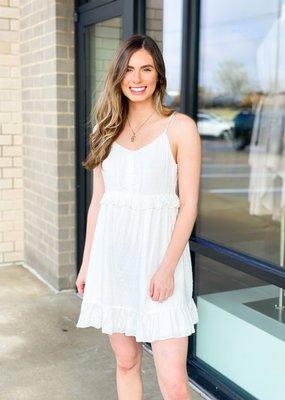 White Mini Swiss Dot Sun Dress