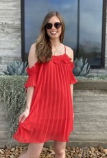 Cold Shoulder Pleated and Crochet Dress
