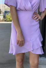 Surplice Woven Dress Lined with Ruffle Hem