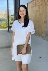 Flutter Sleeve Shift Dress with Tie Back