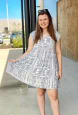 Printed V Neck Dress and Crochet Sleeve