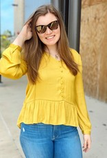 Peplum Bottom Button Front Blouse