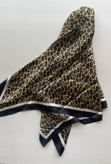 Cheetah Silk Scarf with Black Border