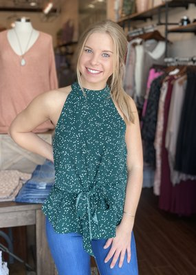 High Neck Tie Front Dot Tank