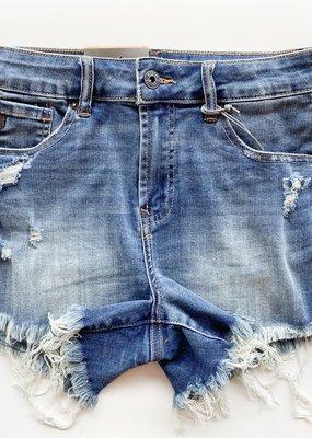 Distressed Raw Hem Denim Shorts