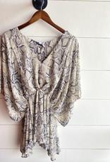 Half Kimono Sleeve Cinched Blouse