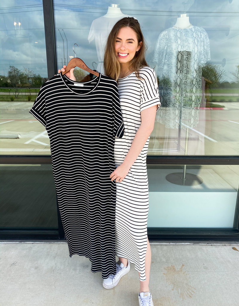 Striped Maxi Dress with Side Slit