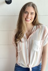 Button Up Collared Top with Stripes