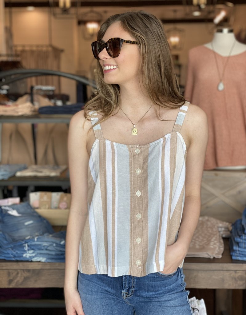 Striped Linen Mix Tank with Button Front