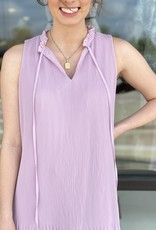 Pleated Mini Dress with High Neck