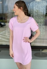 Mini Shift Dress with Sleeve Button