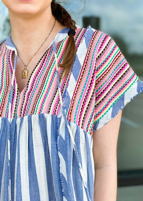 Striped Jacquard Embroidered Blouse