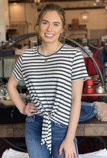 Striped Tee with Tie Bottom Front