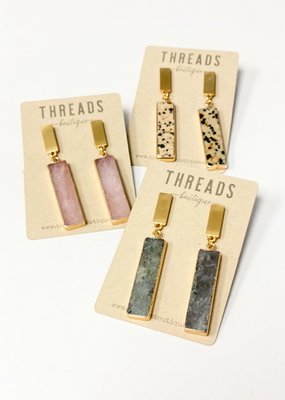 Long Bar Stone and Post Earring