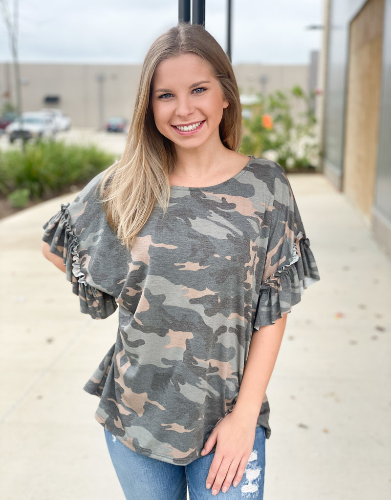 Ruffle Sleeve Camo Top