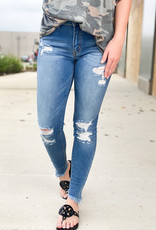 Ripped Skinnies with Angled Hem