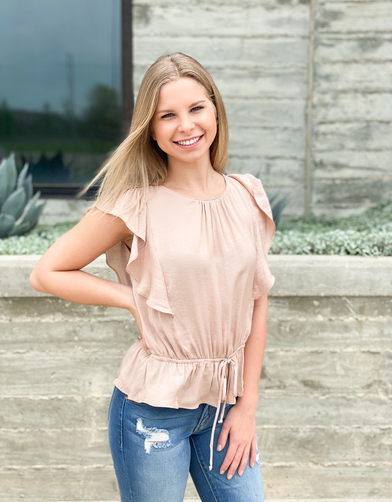 Blouse with Ruffle Sleeve and Tie Waist