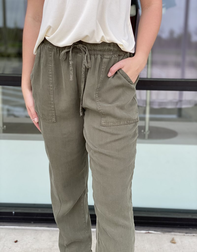 Olive Chambray Pocket Joggers