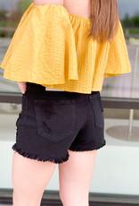High Waist Cut Off Black Shorts