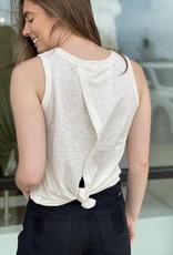 Striped Muscle Tank with Knot Bottom Back