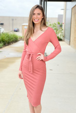 Midi Ribbed Bodycon with Front Tie
