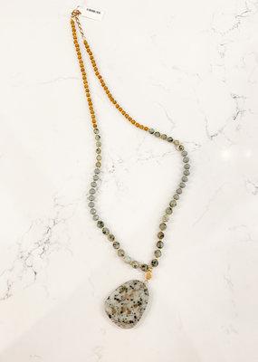 Large Stone Beaded Strand Necklace