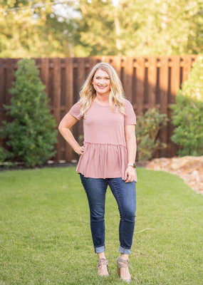 Peplum Tee with Open Back Hole