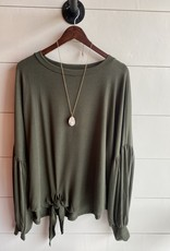 Puff Sleeve Knit Top with Side Tie Detail