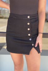 Button Side and Slit Mini Skirt