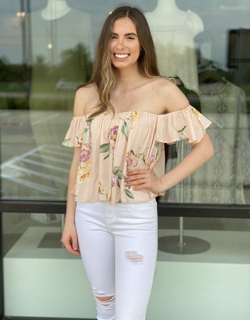 Sweetheart Floral OTS Open Back Blouse