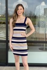 Multi Striped Thick Body Con Dress
