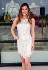 High Neck Lace White Dress