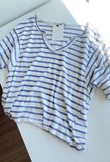 Short Sleeve Raw Hem Striped V Neck