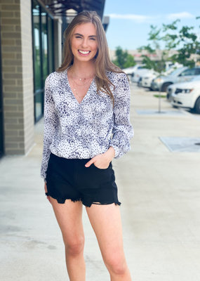 Long Sleeve Floral Pleated Surplice Blouse