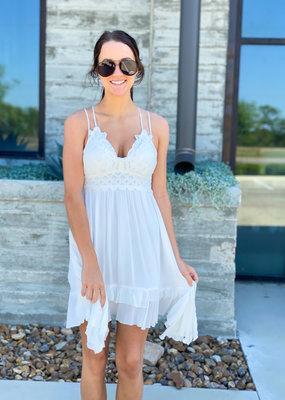 Crochet Lace Top Slip Dress
