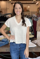 Collared Tee with Small Buttons