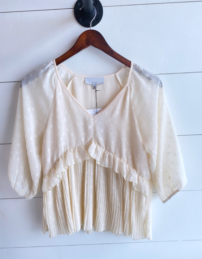 Pleated Babydoll Spotted Blouse