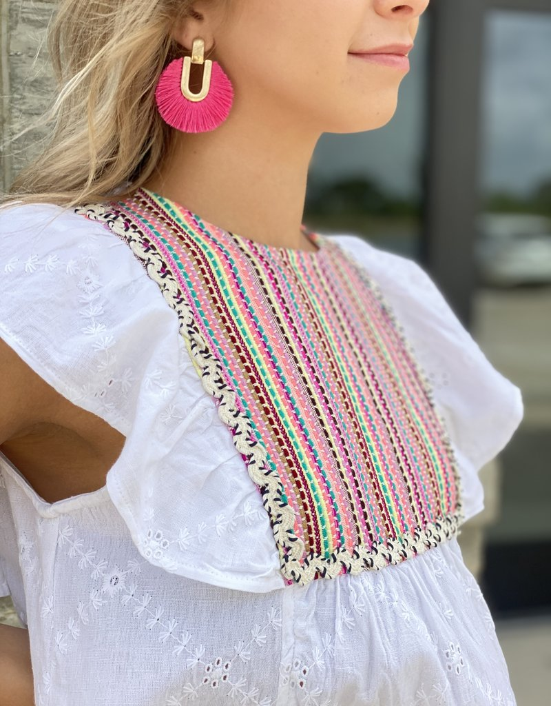 Eyelet Blouse with Embroidered Neon Bib