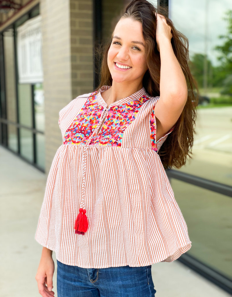 Striped Blouse Embroidered and Tassel Ties