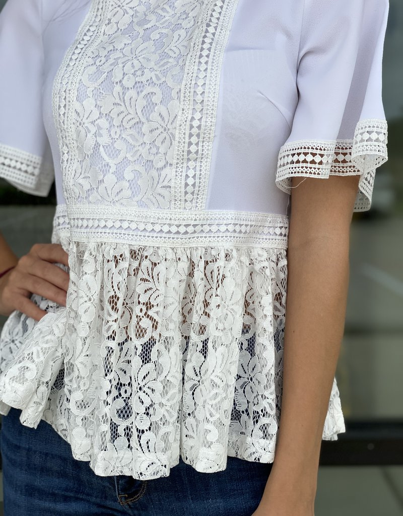 Lace Front High Neck Peplum Blouse