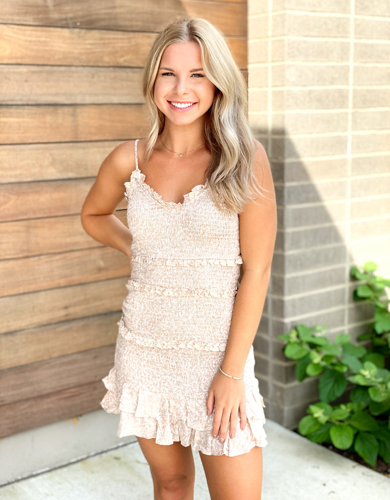 Light Printed Ruched Mini Dress