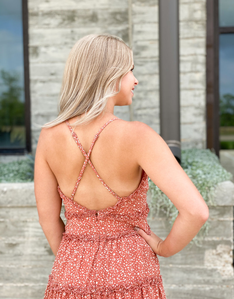 Deep Spotted Dress with Cross Back