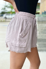 Frey Hem Linen Drawstring Shorts