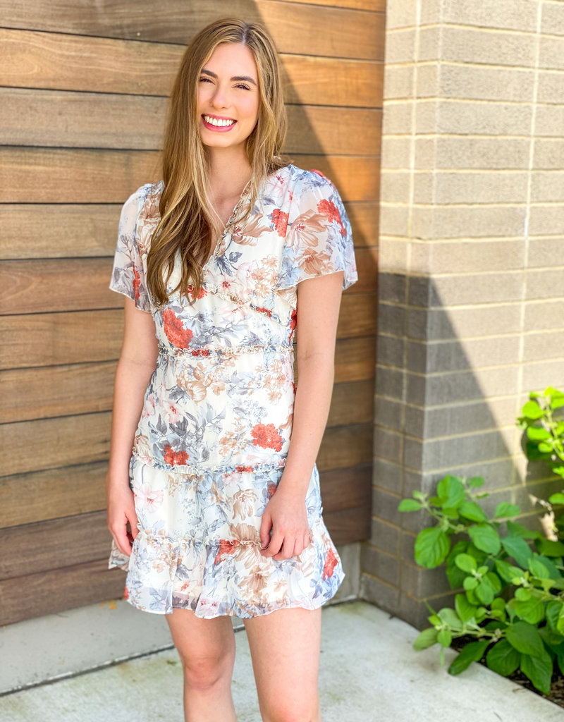 Floral Open Back and Ruffle Hem Mini Dress