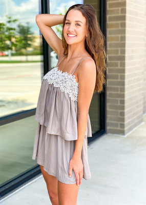 Lace Detail Layered Satin Romper