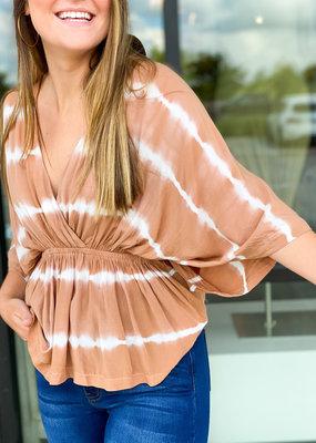 Kimono Sleeve Cinched Waist Blouse