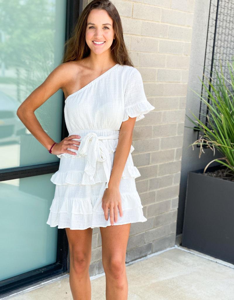 Ruffle Layered One Shoulder Mini Dress